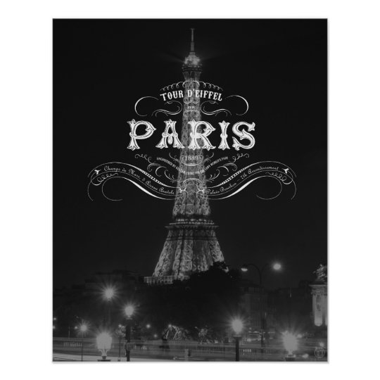 Paris Black And White Travel Poster Eiffel Tower Zazzle Com
