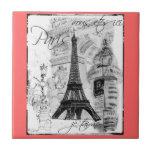 Paris Black & White Eiffel Tower Street Scene Tile