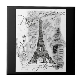 Paris Black & White Eiffel Tower Street Scene Tiles