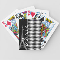 Paris; Black & White Houndstooth Bicycle Playing Cards