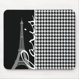 Paris; Black & White Houndstooth Mouse Pad