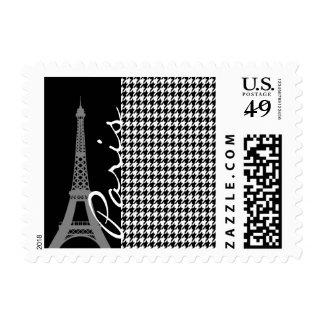 Paris; Black & White Houndstooth Postage Stamp
