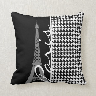 Paris; Black & White Houndstooth Throw Pillow