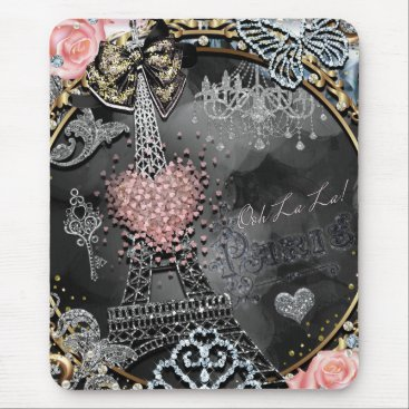 Beach Themed Paris Bling Glamour Sparkle France Girly Trendy Mouse Pad