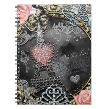 Beach Themed Paris Bling Glamour Sparkle France Girly Trendy Notebook