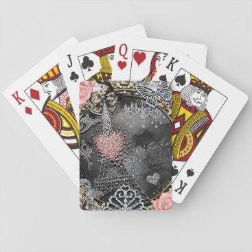 Beach Themed Paris Bling Glamour Sparkle France Girly Trendy Playing Cards