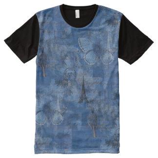 Paris Blue Art Butterflies Tshirt