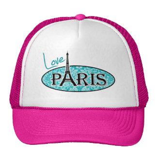 Paris; Blue-Green Damask Pattern Trucker Hat