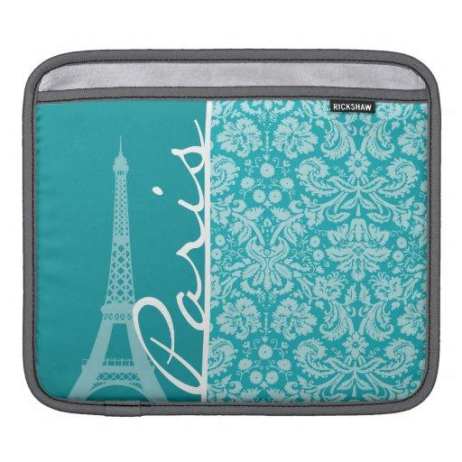 Paris; Blue-Green Damask Pattern iPad Sleeve