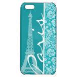 Paris; Blue-Green Damask Pattern iPhone 5C Cover