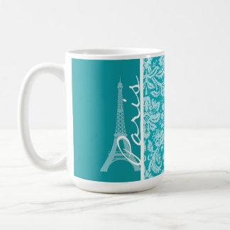 Paris; Blue-Green Damask Pattern Classic White Coffee Mug