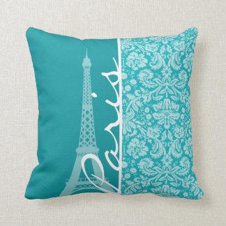 Paris; Blue-Green Damask Pattern Pillows