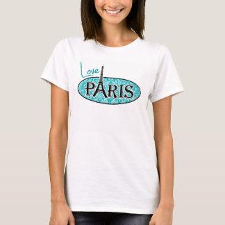 Paris; Blue-Green Damask Pattern T-Shirt