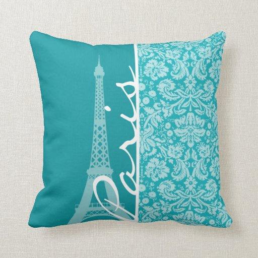 Throw Pillows Blue Green : Paris; Blue-Green Damask Pattern Throw Pillow Zazzle