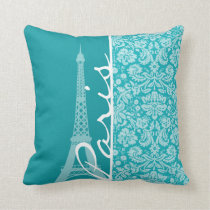 Paris; Blue-Green Damask Pattern Throw Pillow