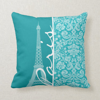 Paris; Blue-Green Damask Pattern Throw Pillow