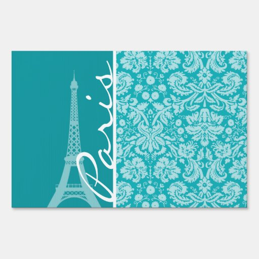 Paris; Blue-Green Damask Pattern Signs