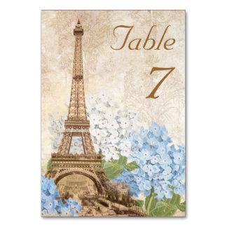 Paris Blue Hydrangea Vintage Romantic Table Card