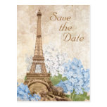 Paris Blue Hydrangea Vintage Save the Date Card