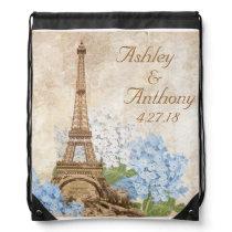Paris Blue Hydrangea Wedding Drawstring Backpack