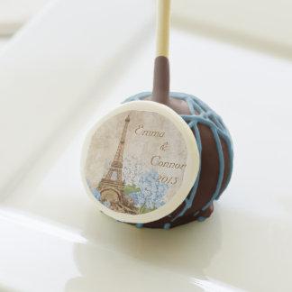 Paris Blue Hydrangeas Vintage Wedding Cake Pops
