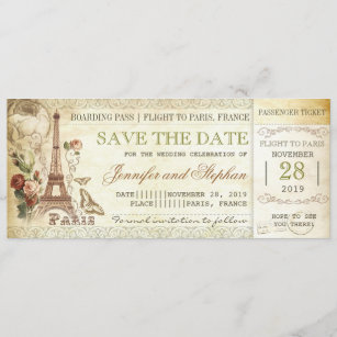 Paris Boarding Pass Tickets For Save The Date