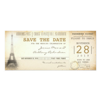 Paris boarding pass tickets for save the date 4x9.25 paper invitation card