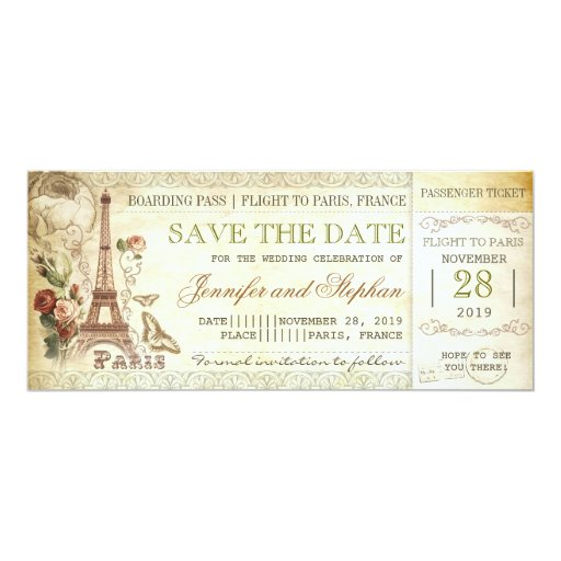 """Paris boarding pass tickets for save the date 4"""" X 9.25"""" Invitation Card"""