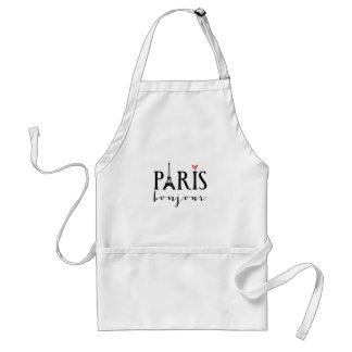 Paris bonjour with Eiffel tower Adult Apron