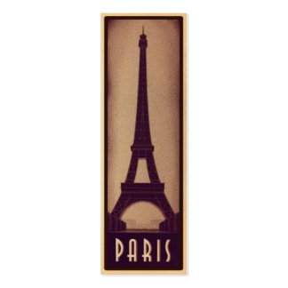 Paris Bookmark Card with Eiffel Tower Silhouette Double-Sided Mini Business Cards (Pack Of 20)