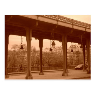 Paris bridge in sepia postcard