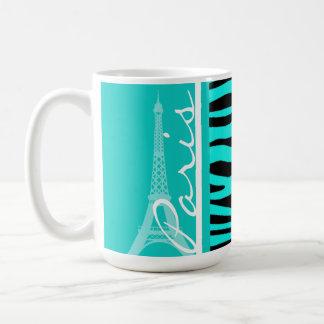 Paris; Bright Turquoise Zebra Animal Print Coffee Mug