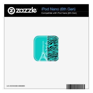 Paris; Bright Turquoise Zebra Animal Print Skin For iPod Nano 6G