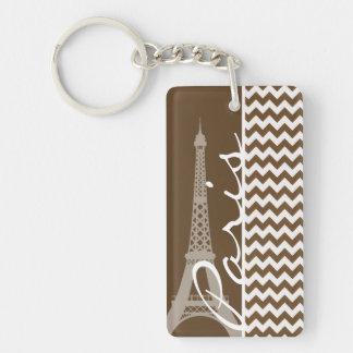París; Brown Chevron Llavero Rectangular Acrílico A Doble Cara
