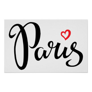 Paris Brush Lettering With Heart Poster