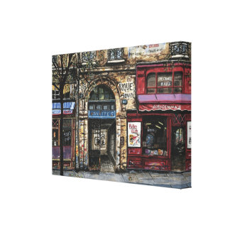 Paris Building  Watercolor Painting Wrapped Canvas