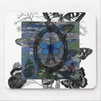 Paris Butterflies Art Collage Mouse Pad
