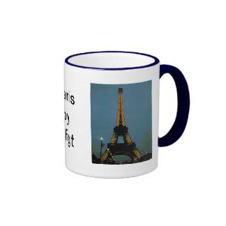 Paris by night, Tour Eiffel, Ringer Coffee Mug