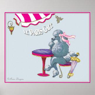 Paris Cafe Silver Poodle Poster Print