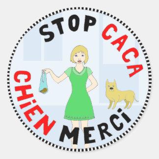 Paris capitale de la crotte round stickers