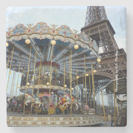 Paris Carousel (& Eiffel Tower) Stone Coaster