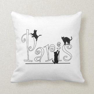 Paris Cats Throw Pillow