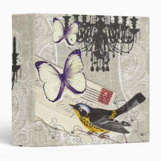 Paris chandelier butterfly bird modern vintage 3 ring binder