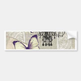 Paris chandelier butterfly bird modern vintage bumper sticker
