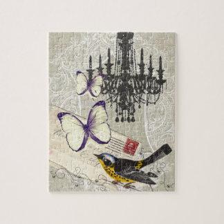 Paris chandelier butterfly bird modern vintage jigsaw puzzle