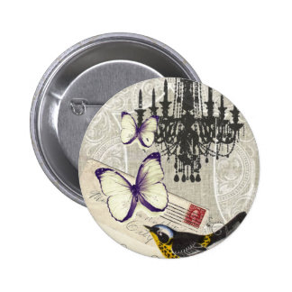 Paris chandelier butterfly bird modern vintage pinback button