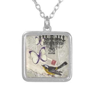 Paris chandelier butterfly bird modern vintage silver plated necklace