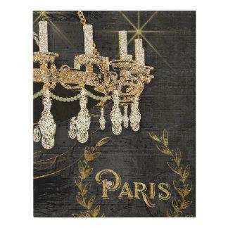 Paris Chandelier Gold Leaf Look Chalkboard Vintage Faux Canvas Print