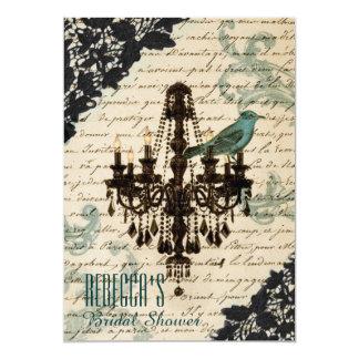 paris chandelier  vintage bridal shower card