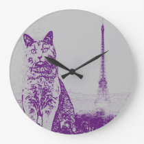 Paris Chartreux Cat Large Clock